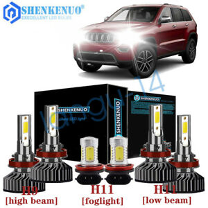 6pcs For Jeep Grand Cherokee 2018 2019 Combo Led Headlight Fog Light Bulbs Kit