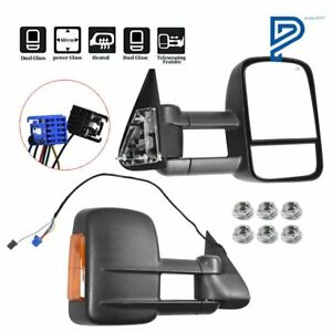 For 03 07 Chevy Gmc Side Mirror Power Heated Led Turn Signal Towing Mirrors Pair