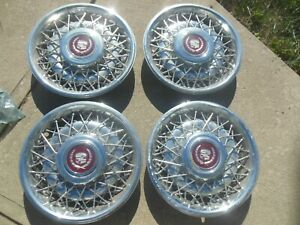 Set 4 Cadillac Spoke Wire Hubcaps Hub Caps Wheel Covers 1986 1992 Rwd Hardware