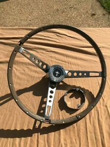 1965 1966 Ford Mustang Deluxe Wood Steering Wheel Correct Spokes Center