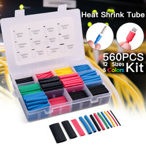 560pcs Cable Heat Shrink Tubing Sleeve Wire Wrap Tube 2 1 Assortment Kit Tools