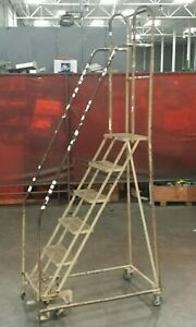 Cotterman 6 Step Rolling Warehouse Ladder 102 h 18 w 10 Step Height Lot 2