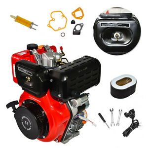Electric Recoil Start 10hp 4 Bolt Air Cooled Single Cylinder Diesel Engine 411cc