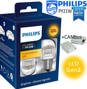 Philips Py21w Led Amber Canbus X Tremeultinon Gen2 Car Turn Signalling Bulbs