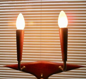 Vtg 1960 S Mid Century Modern Danish Teak And Brass Sconce Wall Light Wall Lamp