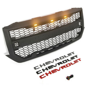 Front Grille For Chevrolet Silverado 1500 2016 2017 2018 W 5 Led Lights Letters