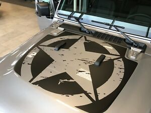 Hood Insert military Star Fits Jeep Wrangler Jl 2018 2019 And 2020 Models