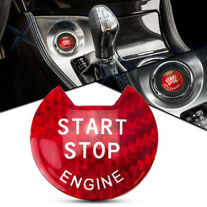 Red Carbon Fiber Engine Start Stop Push Button Cover For Nissan Infiniti Q50 Q60