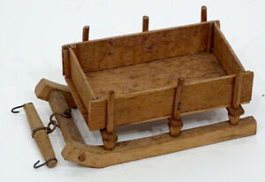 Antique Primitive Folk Art Hand Carved Wood Horse Wagon Sleigh Dollhouse Size