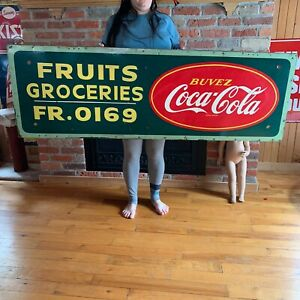 Vintage UNIQUE Coca-Cola Advertising Masonite Wood Frame From General Store.
