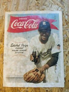 1950s Coca Cola Poster sign Satchel Paige Pitcher soda Baseball St Louis Browns