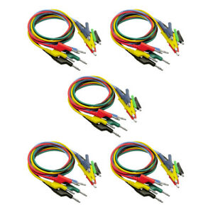 25x 5 color Banana To Alligator Clip Lead Wire Cable Supplies 1000v 15a