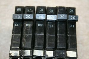 6 six Used Ge General Electric 20 Amp 120 240v Circuit Breakers 1 Pole