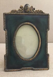 Vintage Victorian Green Gold Gilt Picture Frame Ornate Faux Marble Resin