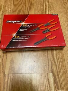 New Snap On 3pc Duck Bill Pliers Set Orange Handle Pl307acf061 Pl307acf 4pc