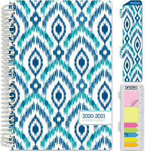Hardcover Academic Year 2020 2021 Planner 5 5 x8 blue Ikat