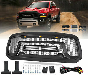 Front Grill Mesh Grille Rebel Style For 2013 2018 Dodge Ram 1500 W led Lights