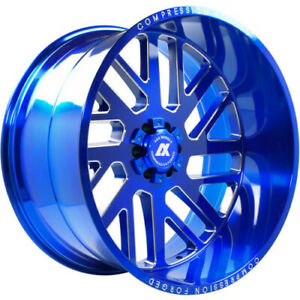 4 22x12 Axe Compression Forged 2 7 Blue Brushed Wheels 5x5 Jeep 5x5 5 Dodge Ram