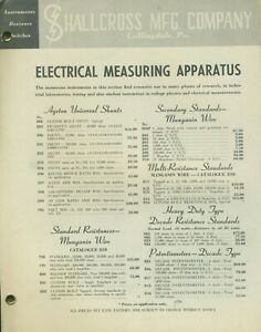 Shallcross Mfg Company Collingdale Pa 10 Product Bulletins Electrical Test Equip