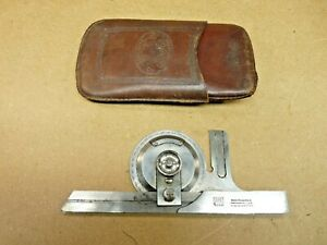 Brown Sharpe Unknown Protractor Measuring Tool Leather Case