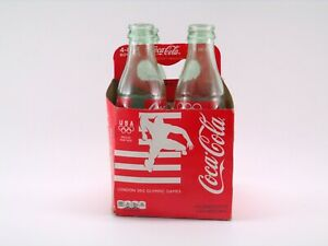 Coca-Cola 2012 London Olympic Games 4 Pack Case with 4 EMPTY 8oz Glass Bottles