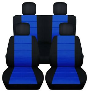Front And Rear Car Seat Covers Fits Jeep Wrangler Jk 2007 2017 Black dark Blue