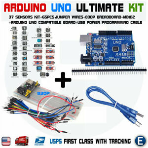 Arduino Uno Ultimate Kit 37 In 1 Sensors Mb102 830 Breadboard 65pcs Jumper Cable