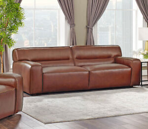 New Art Deco Modern Sofa Best Real Top Grain Leather Restoration Style