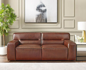 New Art Deco Modern Love Seat Sofa Best Real Top Grain Leather Restoration Style