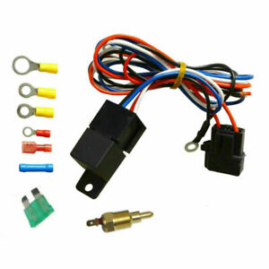 Electric Radiator Engine Cooling Fan Thermostat Temperature Switch Relay Kit