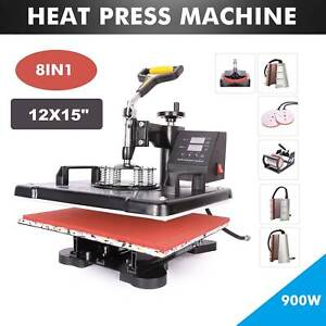 8 In 1 Transfer Heat Press Digital Sublimation Machine 12x15 Cap Hat T shirt