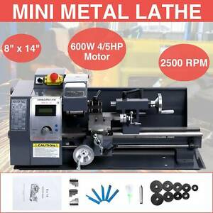 8x14 Mini Metal Lathe Machine Variable Speed 2500 Rpm W 5 Turning Tools 600w