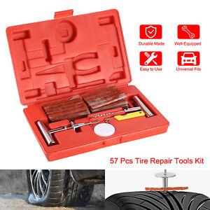 57pc Tire Repair Kit Diy Flat Tire Repair Car Truck Motorcycle Home Plug Patch