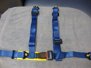 A Pair Of 4 Point Nrg Harness Sabelt Seat Belts Blue New Part Sb 4b