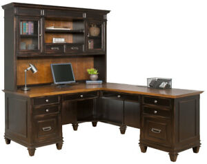 Black Maple L Shaped Desk With Hutch Top Two Toned With Rub Through