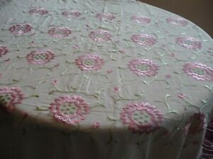 Beautiful Vintage Silk Piano Shawl W Hand Embroidered Pink Flowers