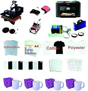 15 x15 5in1 Pro Sublimation Heat Press Epson Wf 3720 Printer Ciss Material Kit