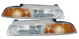 For 1995 1996 Chrysler Cirrus Dodge Stratus Plymouth Breeze Headlights Pair Set