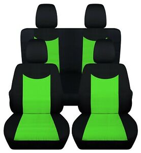 Front And Rear Car Seat Covers Fits Jeep Wrangler Jk 2007 2017 Black Lime Green