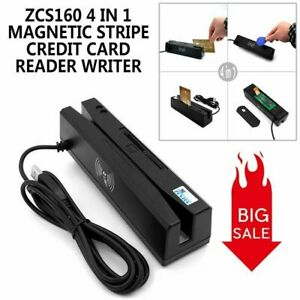 Zcs160 4 In 1 Magnetic Stripe Credit Card Rfid Psam Emv Ic Chip Reader Writer g