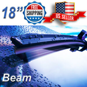 18 Inch Wiper Blades All Season Bracketless Windshield J Hook Beam Style