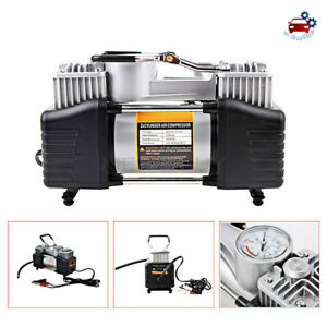 Double Cylinder Air Pump Compressor Car Auto Tire Inflator Heavy Duty