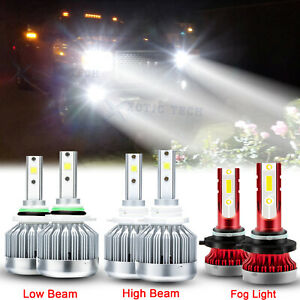 Led Headlight Fog Light Bulbs Combo For Gmc Sierra 1500 2500 Hd 3500 2001 2006
