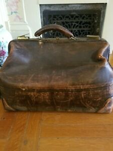 Antique Doctor S Bag Brown Cowhide Leather Warranted Patented Authentic 1918