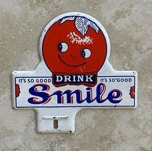 Drink Smile Automotive License Plate Tag Topper Original Vintage
