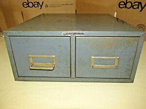 Steelmaster 2 Drawer Card File Cabinet vntg stackable industrial gray 1 Handle