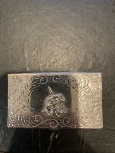 Vintage Silver Business Card Holder Montana Silversmiths Fishing