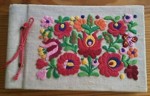 Beautiful Antique Hungarian Embroidered Photo Album Holds 12 Photos Hungary