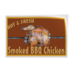Decal Stickers Hot Fresh Smoked Bbq Chicken Restaurant Cafe Store Sign Label