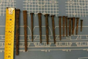 Rusty Antique Square Cut Nails Primitive 3 3 4 To 1 Sizes 13 W Various Heads